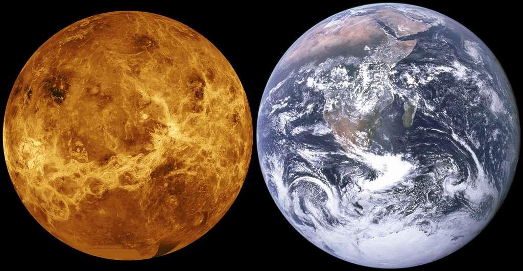 Une comparaison à l'échelle entre Vénus, telle que l'a révélée le radar de la sonde Magellan (les couleurs sont fausses) et la Terre photographiée lors de la mission Apollo 17. © Nasa