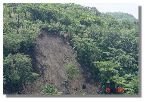 Glissement de terrain à proximité d'une station de mesures acoustiques (en haut à gauche) © IRD/Michel Lardy.
