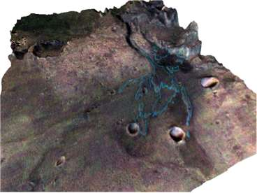 Vue 3D d'une image prise par la caméra HRSC (High Resolution Camera) de MarsExpress. Les parties apparaissant en rosé correspondent aux dépôts argileux. Ils ont été découverts grâce au spectro-imageur Omega de la sonde européenne. Les restes du delta ont été cartographiés en bleu. © CNRS