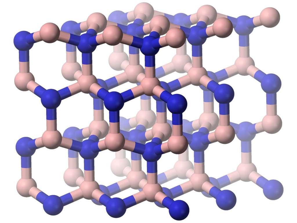 Le nitrure de bore peut prendre une structure ressemblant à celle du diamant. © Benjah-bmm27, Wikipedia, Domaine public
