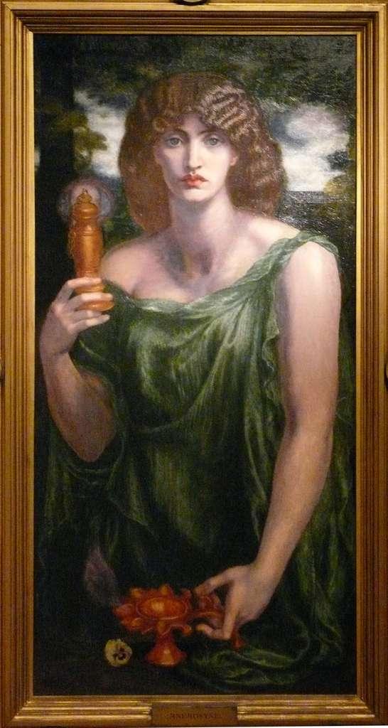 Mnémosyne d'après Dante Gabriel Rossetti, 1875-1881, Delaware Art Museum. Le mot « mémoire » vient de la déesse Mnémosyne. Mystérieuse, elle n'a laissé aucune représentation dans l'Antiquité. Il a fallu le talent de Rossetti pour l'imaginer. © DP