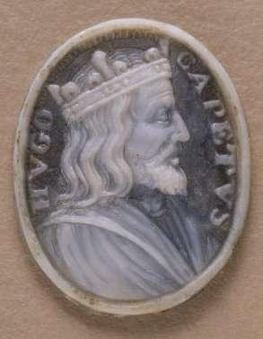 Médaillon sculpté représentant Hugues Capet, roi des Francs, qui a hérité de Senlis. © BNF, domaine public