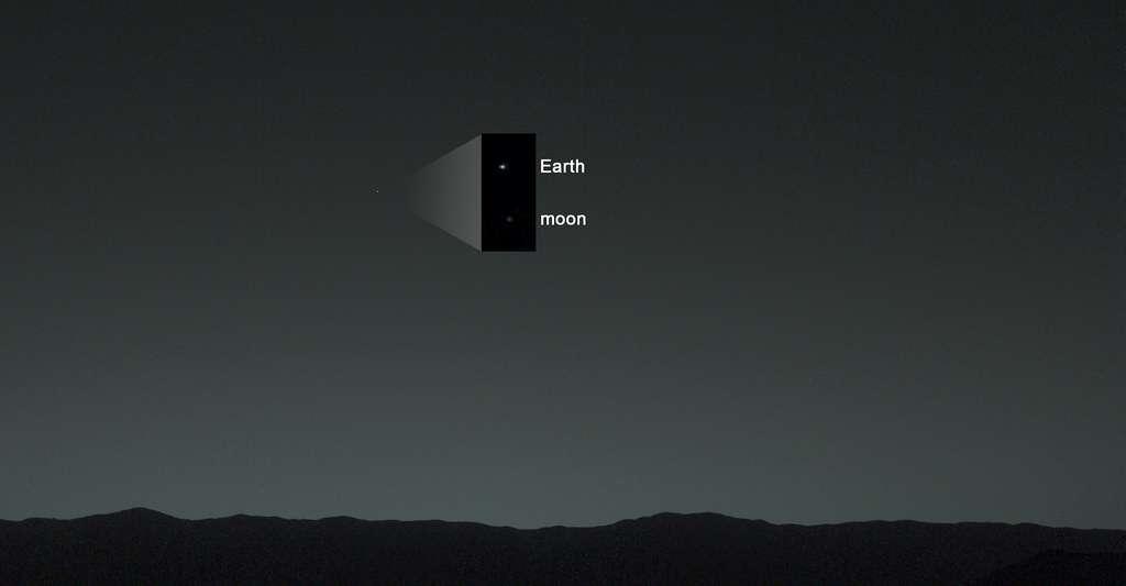 La Terre et la Lune dans le ciel de Mars, fin janvier 2014. © JPL-Caltech, MSSS, TAMU, Nasa