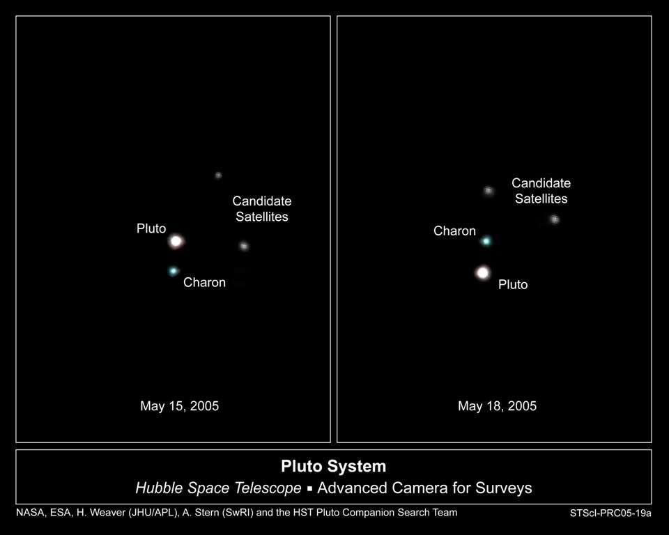 Selon certaines observations, de la glace ferroélectrique serait présente à la surface de Charon, compagnon de Pluton. On voit ici cette petite famille vue par Hubble. © Nasa