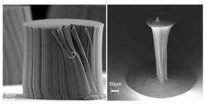 A gauche, des nanotubes de carbone qui ont poussé naturellement. A droite, les mêmes nanotubes après une étape de densification : le diamètre s'est réduit de 25 fois. Crédit : Rensselaer/Liu