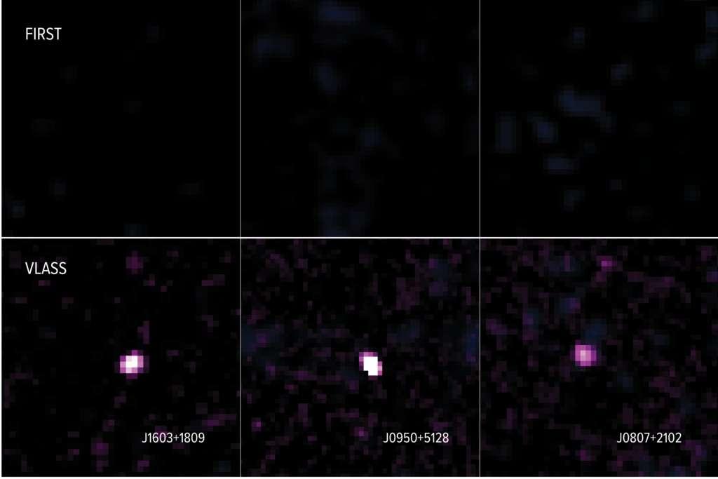 Images de trois galaxies prises par le VLA et étudiées par Nyland et al., comparant ce qui fut observé dans les relevés FIRST et VLASS. Les émissions radio nouvellement apparues indiquent que les galaxies ont lancé de nouveaux jets de matière entre les dates des deux observations. © Nyland et al.; Sophia Dagnello, NRAO, AUI, NSF