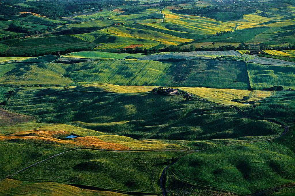 Campagne aux environs de Sienne, Toscane, Italie (43°19' N - 11°19' E). Baignée par la mer Tyrrhénienne, la Toscane, en Italie centrale, est l'une des plus belles régions de la péninsule, et doit une part de sa notoriété à ses collines. Recouvertes de vignes, d'oliviers, de champs d'orge et de maïs, ponctuées de villages médiévaux, elles ont donné de leur chair pour édifier les villes de la région, fournissant l'argile dont le pigment caractéristique ocre rouge porte le nom de terre de Sienne. © Yann Arthus-Bertrand - Tous droits réservés