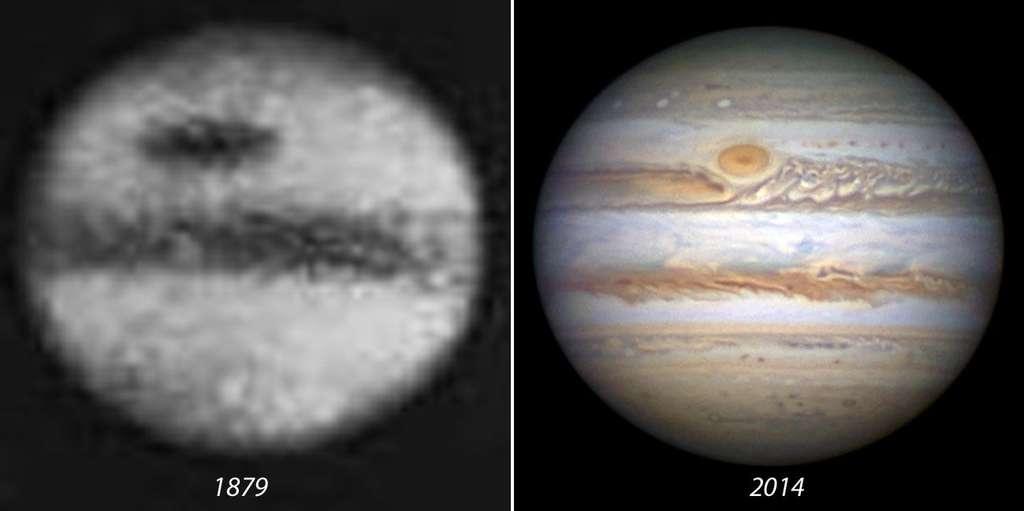 Comparaison de la grande tache rouge de Jupiter photographiée en 1879 et en 2014. © Damian Peach