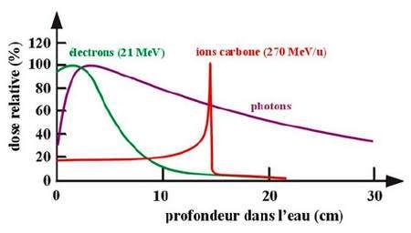 Pénétration de divers rayonnements : absorption rapide des électrons, plus lente des photons gamma et pic de Bragg du carbone © CNRS-IPN Lyon