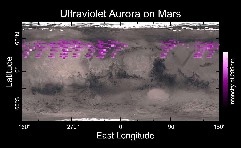 Une carte dressée grâce à l'instrument Ultraviolet Imaging Spectrograph (IUVS) de la sonde Maven de la Nasa. Elle montre qu'en décembre 2014, des aurores visibles dans l'ultraviolet étaient très répandues dans l'hémisphère nord de Mars, sans être particulièrement liées à un emplacement géographique. © université du Colorado