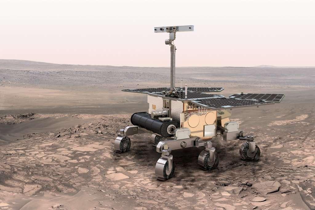 Le rover européen de 2018 sondera le sol martien à l'aide d'un radar et réalisera des forages pour prélever des échantillons jusqu'à deux mètres de profondeur. © Esa