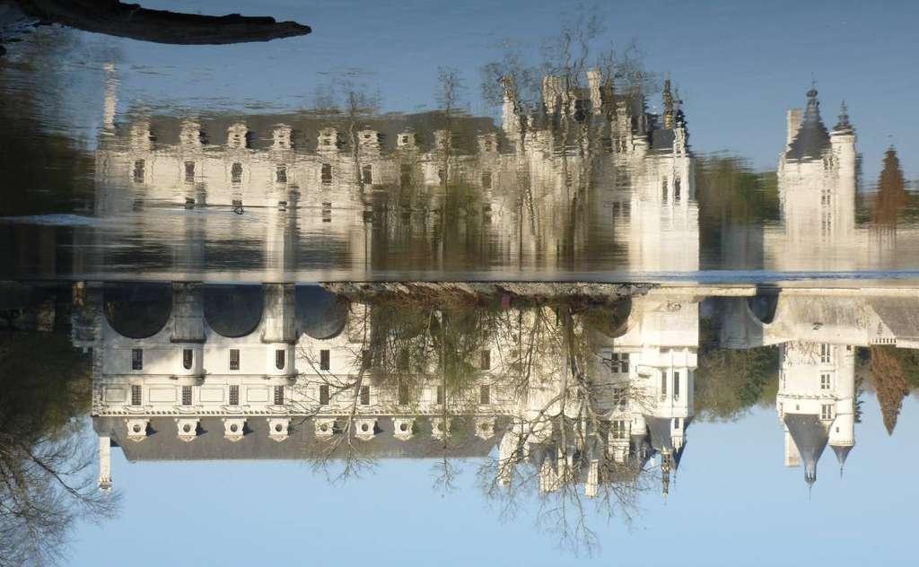 Château de Chenonceau, en Indre-et-Loire. La photographie montre un exemple de symétrie miroir, qui échange eau et bas. © Amaury Mouchet, Dunod