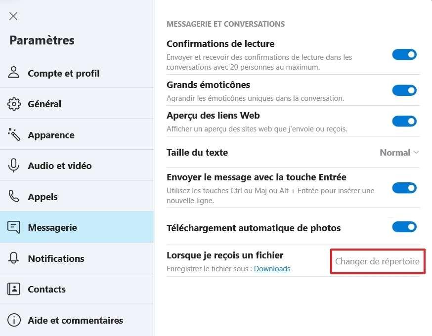 Changez le dossier de destination de vos fichiers. © Microsoft