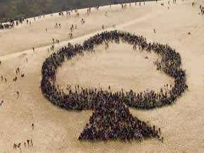 L'arbre humain réalisé en 2009 sur la dune du Pyla à l'initiative de la chaîne de télévision Gulli. © Gulli