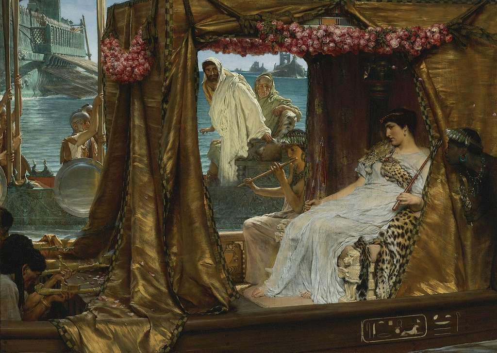 Selon la légende, Cléopâtre aurait utilisé un puissant parfum pour envoûter l'empereur Marc-Antoine en l'an 41 avant J.-C. © Lawrence Alma-Tadema, Wikipédia