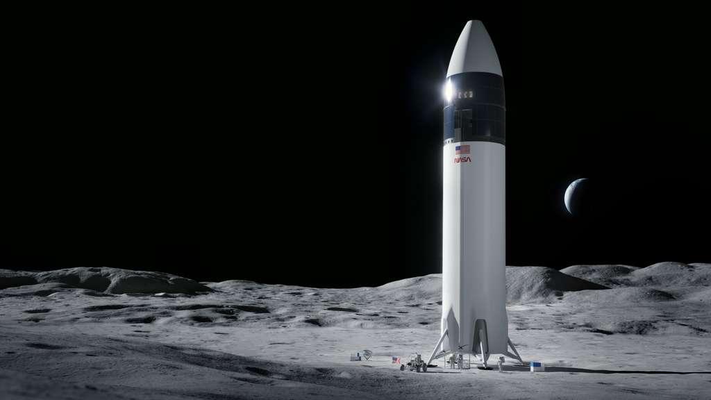 Concept-art de l'atterrisseur lunaire Starship HLS, qui permettra aux astronautes d'atteindre la Lune lors du programme Artemis. © Space X