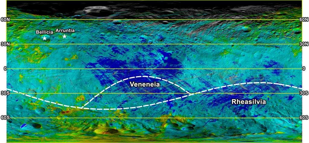 Une carte en fausses couleurs de la minéralogie de surface de Vesta. L'imposant cratère Rheasilvia occupe une bonne partie de l'hémisphère sud. Les taches rouges, vertes et bleues indiquent des régions dont les roches sont identiques à celles formant respectivement les diogénites, les howardites et les eucrites, des météorites trouvées sur Terre. La sonde Dawn a donc confirmé qu'elles venaient bien de Vesta. Les zones jaunes indiquent les régions où l'on trouve à la fois des diogénites et des howardites. © Nasa