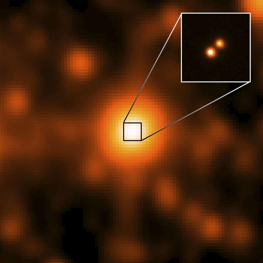 Luhman 16 vue par le Wide-field Infrared Survey Imager (Wise) : image large, où les deux naines brunes ne sont pas résolues et par l'Observatoire Gemini, encart avec les deux naines brunes résolues. © Nasa, JPL, Gemini Observatory, AURA, NSF