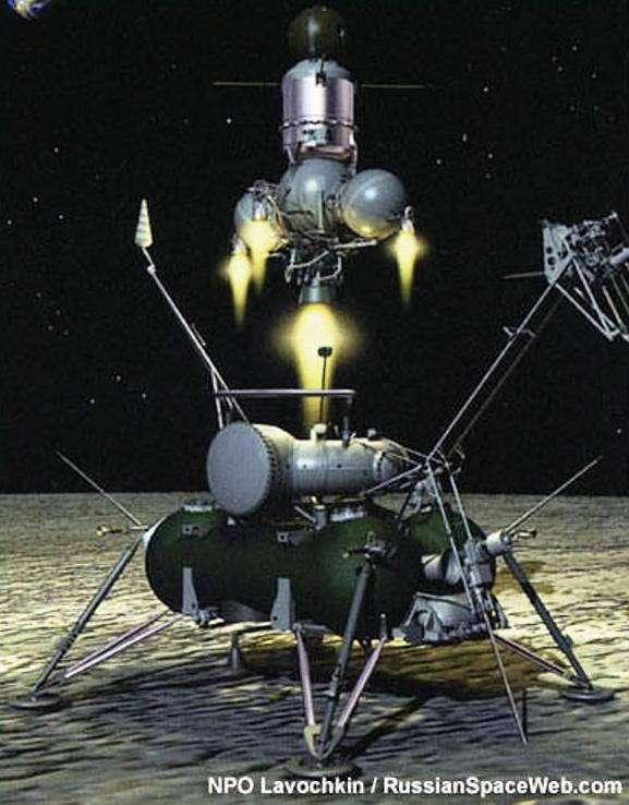 Une vue d'artiste du décollage du module de la sonde Luna 24 rapportant des échantillons lunaires. © NPO Lavochkin