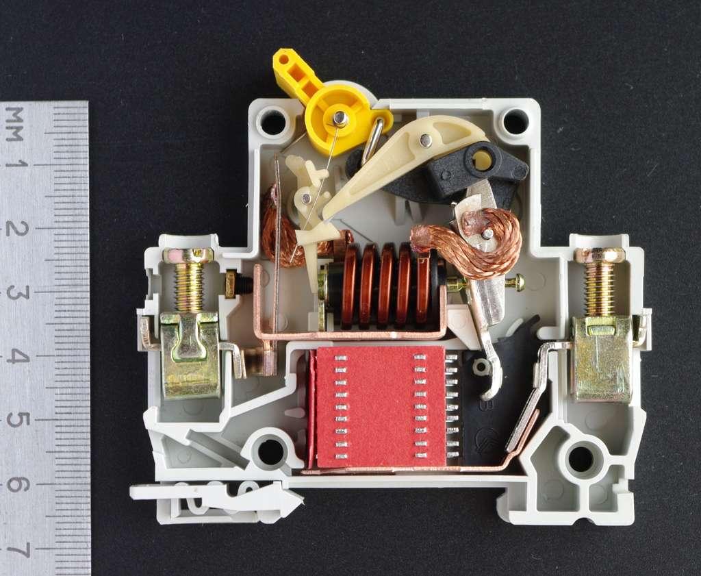 Sur cette image de disjoncteur magnétothermique, on distingue la bilame de la partie thermique (sur lequel est accroché la tresse en cuivre) et la bobine de la partie magnétique. © CC By rezemika