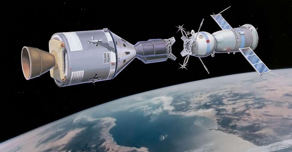 Vue d'artiste de Soyuz et Apollo en orbite. © NASA - Domaine public