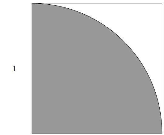 Représentation de l'arc de cercle dans un carré. La surface grisée équivaut à Π/4. © Dumoulin et Thouin, arXiv