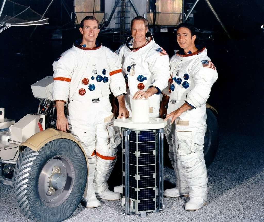 Scott (commandant), Worden (responsable du module de service) et Irwin (pilote du module lunaire) formaient l'équipage d'Apollo 15. © Nasa