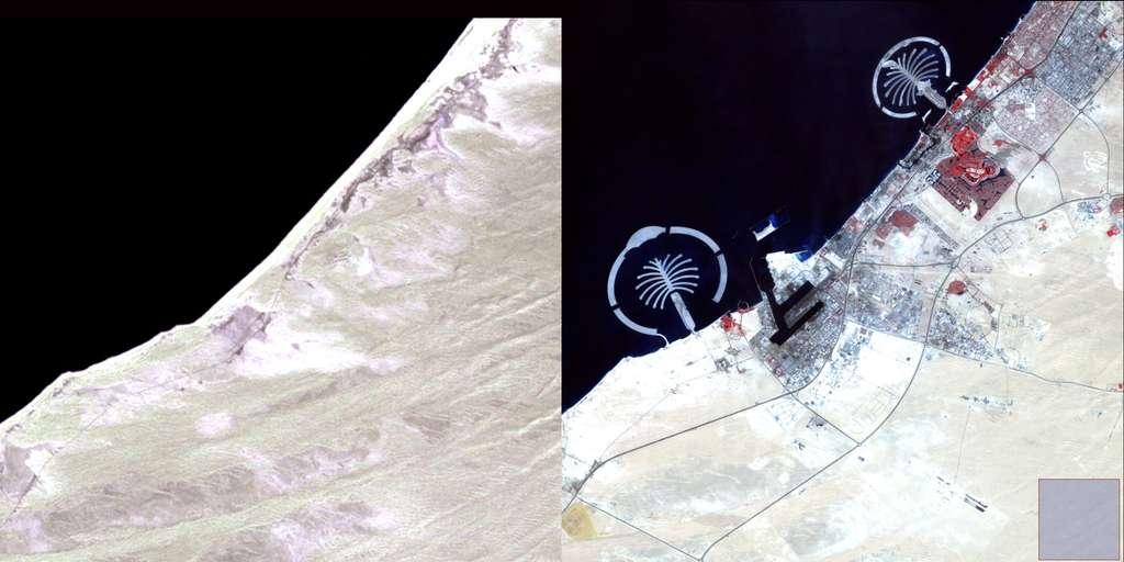 Ces deux images de Dubaï, un émirat des Émirats arabes unis, acquises en 1973 et 2006, illustrent l'urbanisation galopante de cette zone. © Nasa, USGS