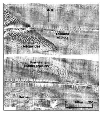 Extrait d'image sonar © Ifremer Reproduction et utilisation interdites