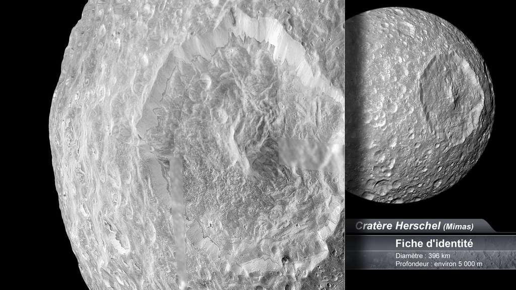 Cratère sur Mimas, lune de Saturne