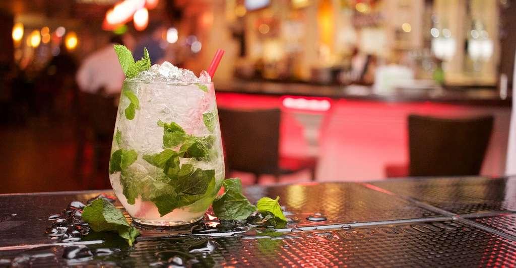 Le formiate d'éthyle est responsable de l'odeur caractéristique du rhum. Ici, un mojito, un cocktail à base de rhum. © StockSnap, Pixabay, CC0 Creative Commons
