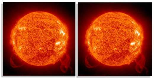 A gauche, une étoile ; à droite une anti-étoile... La lumière qui nous proviendrait de ces dernières serait exactement similaire à celle provenant des étoiles !