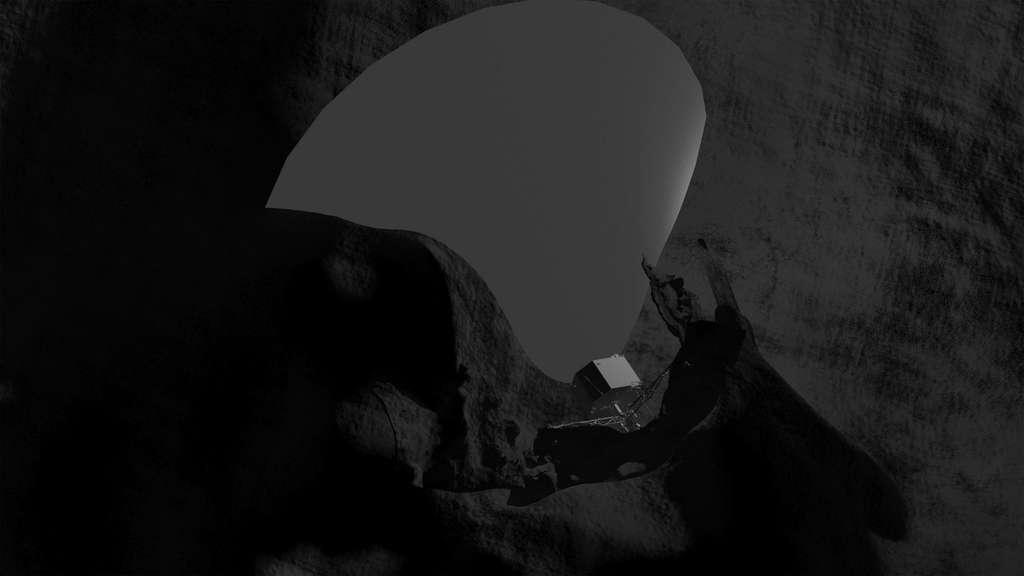 En se fiant à la position estimée de Philae et à l'orientation du lobe de son antenne, les contrôleurs au sol on réalisé cette vue d'artiste montrant bien toute la difficulté de communiquer avec le petit lander. La communication est uniquement possible à l'intérieure de la zone grise. © Esa