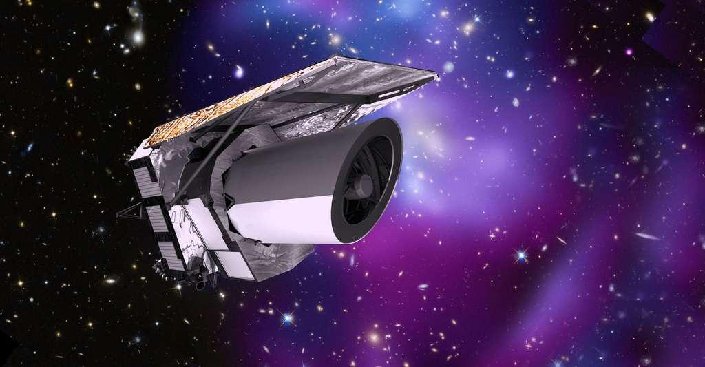 Le satellite Euclid (image d'artiste) de l'Esa devrait nous permettre d'en savoir un peu plus sur la nature de l'énergie noire et donc peut-être sur le destin de l'univers. © Esa