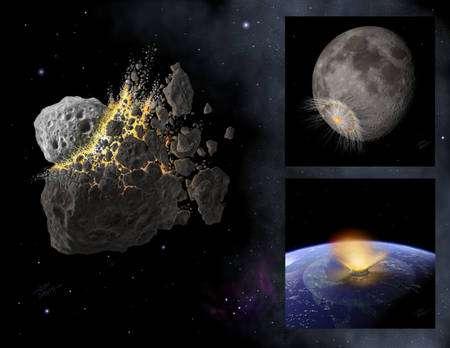 Illustrations d'artiste des événements analysés dans l'article de Nature (Crédit : Don Davis).