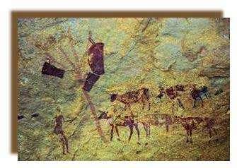 Détails d'une scène avec un mât et des calebasses suspendues. Wadi Aramat.