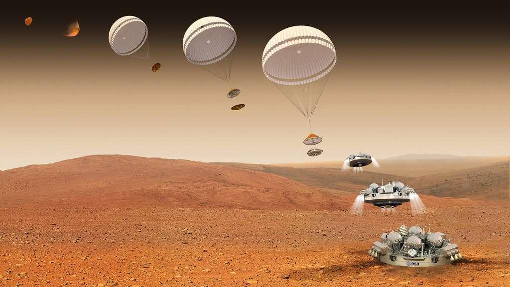 Partie de Terre à bord du TGO en mars 2016, la capsule Schiaparelli fonce maintenant vers Mars où elle devra se poser. On voit ici les six dernières minutes de ce voyage de sept mois. Elle doit permettre à l'Europe d'apprendre à atterrir sur la Planète rouge. © ESA
