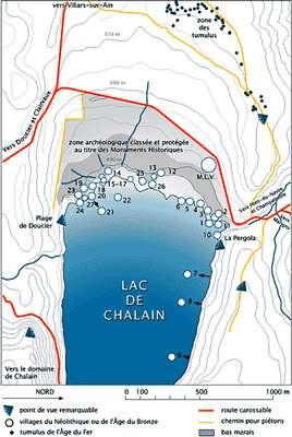 Carte du lac de Chalain, situé à 30 km de Lons-le-Saunier. © DR