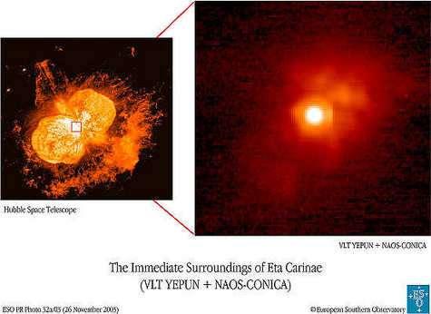 Images de Eta Carinae avec Hubble.