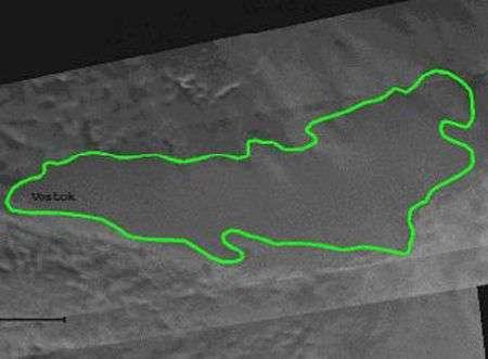L'emplacement du lac Vostok repéré par ERS-1. Crédit Esa