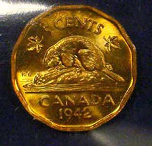 Pièce canadienne en tombac 1942