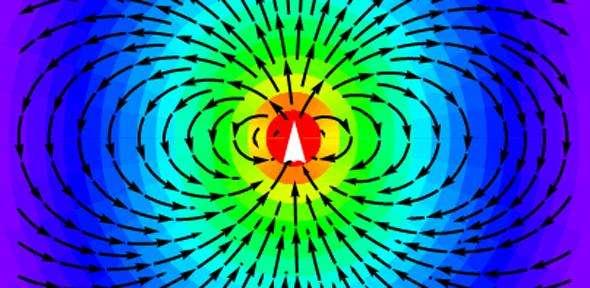 Diagramme de rayonnement d'une antenne dipolaire montrant des lignes de champ électromagnétique. © Université de Cambridge, généré par Mathematica de Wolfram Inc.