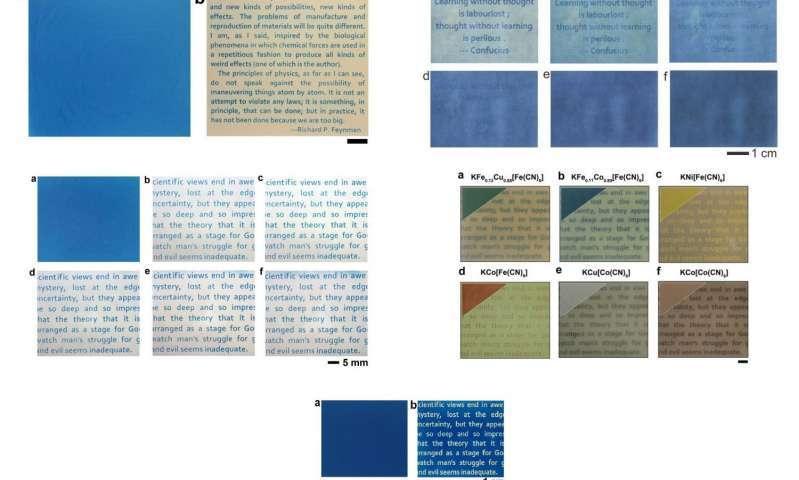 Le papier 2.0 mis au point par une collaboration internationale permet d'imprimer en différentes couleurs à la lumière ultraviolette. Contrairement à ce qui se fait avec de l'encre classique, c'est le fond de la page qui est imprimé pour redevenir blanc et laisser apparaître une écriture colorée. Un inconvénient tout de même, et pas des moindres : pour l'heure, ces impressions s'effacent au bout de quelques jours sous l'effet de l'oxydation. © American Chemical Society