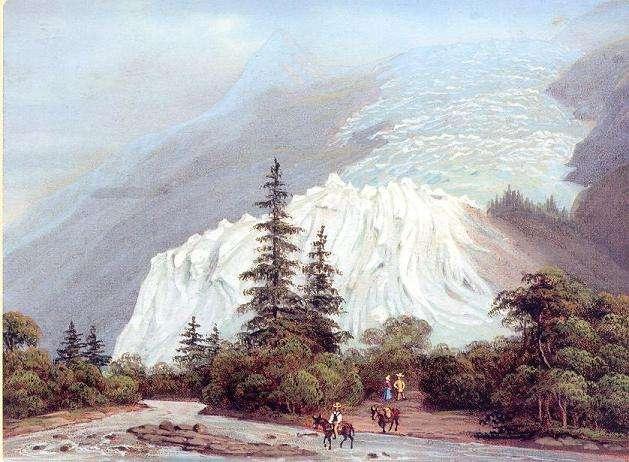 Glacier des Bossons en 1830. Voir petit âge glaciaire. © Domaine public