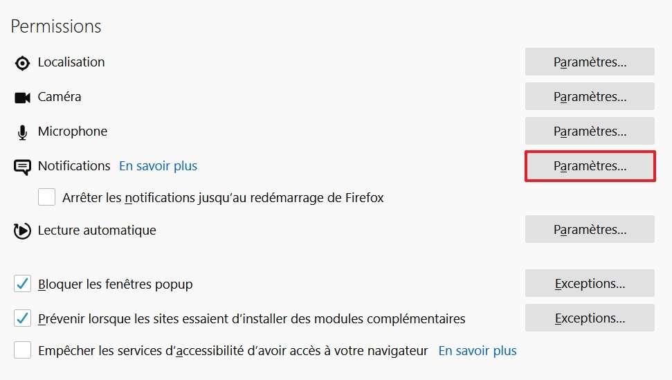 Allez dans les paramètres des notifications. © Mozilla Foundation