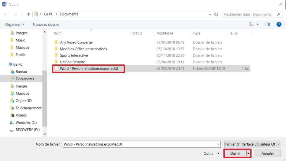 Cherchez le fichier de personnalisation, puis cliquez sur «Ouvrir» pour l'appliquer. © Microsoft