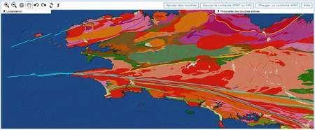 Différentes informations peuvent apparaître sur la carte, ici les unités géologiques et les structures géologiques. (Capture d'écran.)