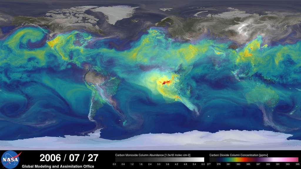 Les niveaux baissent fortement en été alors que la vie végétale s'épanouit dans l'hémisphère nord. © Nasa
