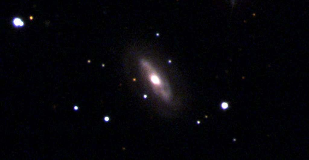 Selon des chercheurs de l'université de Harvard (États-Unis), la galaxie J0437+2456 abrite un trou noir supermassif en mouvement. © Sloan Digital Sky Survey
