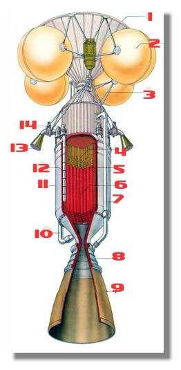 Schéma d'un moteur nerva - 1) Base du réservoir d'hydrogène liquide - 2) Bouteilles sphériques de pressurisation - 3) Supports structurels - 4) Bouclier anti-radiations - 5) Réflecteur entourant le noyau du réacteur - 6) Réacteur nucléaire modéré au carbone (avec des conduits à travers lesquels le LH2 gicle à haute pression) - 7) Tube de refroidissement de la tuyère - 8) Tuyère - 9) Extension de la tuyère - 10) Débit du réacteur vers la turbine - 11) Coque de pression - 12) Cylindre de contrôle - 13) Echappement de la turbine (pour le contrôle d'attitude et l'augmentation de la poussée) - 14) Anneaux des commandes du cylindre de contrôle